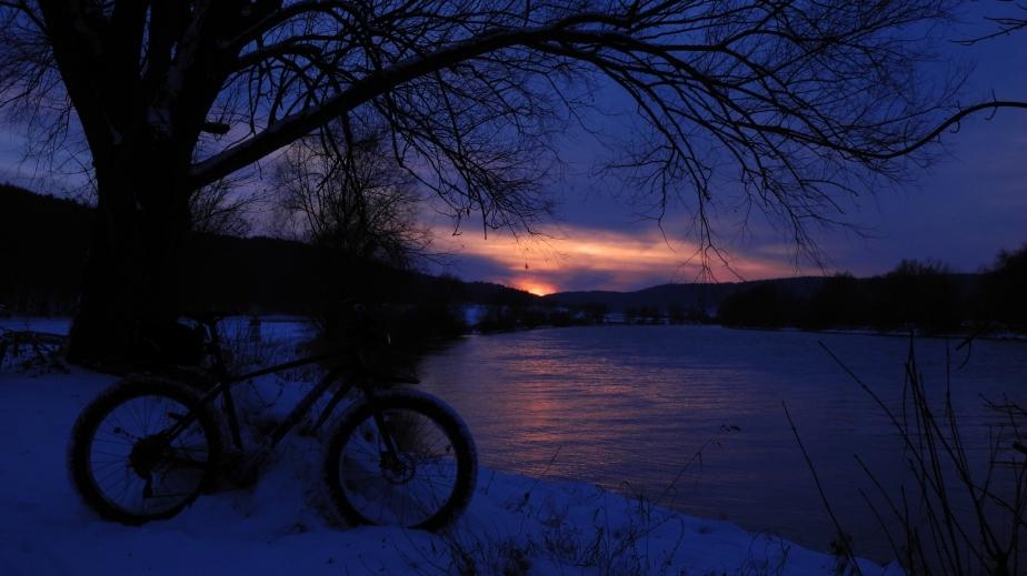 Abendrunde mit Sonnenuntergang über Unterirading zum Ebner-Bäcker nachPentling