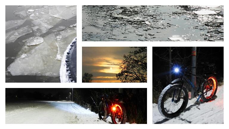 Dünnes Eis, etwas Sonne und gefrorene Schneepisten amAbend