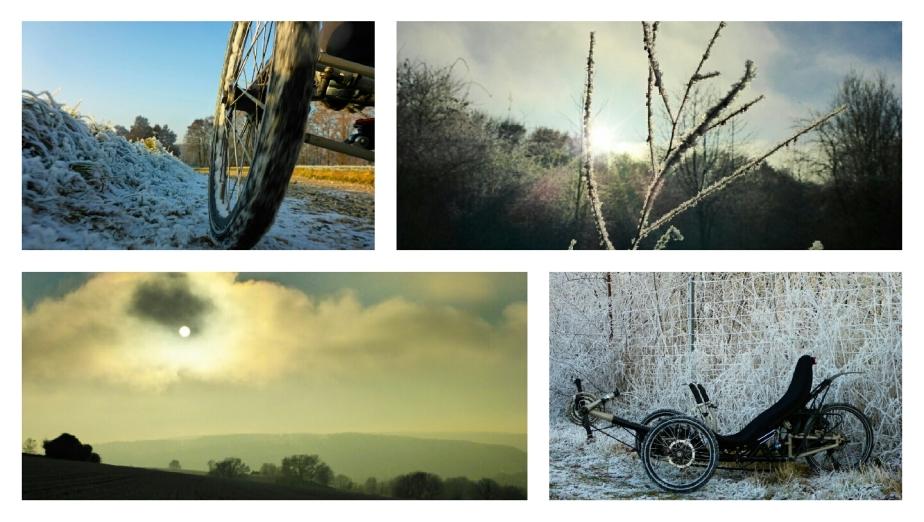 Nebel, Rauhreif, Sonne und ein Dreirad